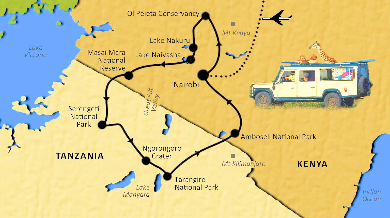 04 Kenya-Tanzania map | Midlife Madness Tours